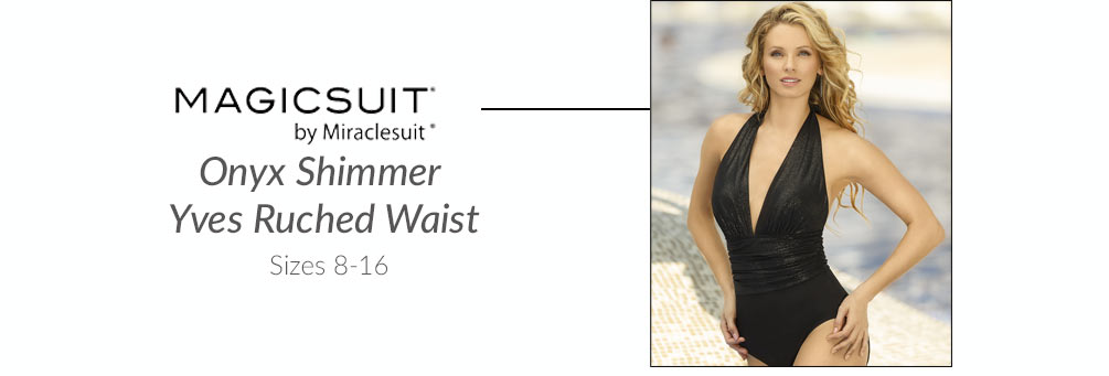 MagicSuit Onyx Shimmer Yves Ruched Waist 1 PC Swimsuit 368717